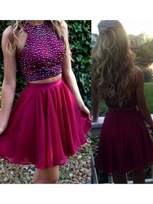 Sherri Hill Junior Two Piece Jewel Sleeveless Short Homecoming Dress with Beading