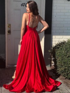 Gorgeous A-Line Deep V Neck Open Back Red Satin High Slit Long Prom Evening Dresses with Pockets