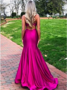 Sexy Mermaid Halter Fuchsia Satin Long Prom Dresses with Side Slit,Open Back Evening Party Dresses