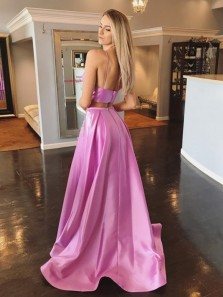 Unique Two Piece V Neck Open Back Lilac Satin Long Prom Dresses with Beading Pockets