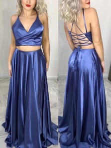Stunning A-Line Two Piece V Neck Cross Back Satin Long Prom Evening Dresses Under 100