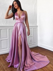 Simple A-Line V Neck Open Back Lilac Satin Long Prom Dresses with Slit,Evening Party Dresses