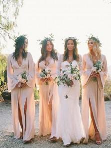 Bohe A-Line V Neck Long Sleeve Peach Chiffon Long Bridesmaid Dresses with Slits