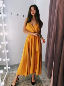 Simple A-Line V Neck Spaghetti Straps Yellow Fuchsia Chiffon Ankle Length Wedding Guest Dresses Under 100