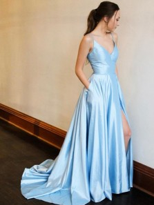A-Line V Neck Spaghetti Straps Open Back Blue Satin Long Prom Dresses with Split,Formal Party Dresses