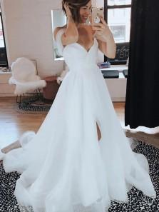 Gorgeous A-Line V Neck Off the Shoulder White Tulle Wedding Dresses with Slit