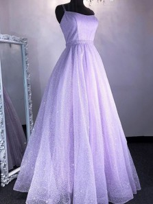 Lovely A-Line Scoop Neck Cross Back Lavender Sparkly Lace Prom Dresses,2020 Graduation Dresses