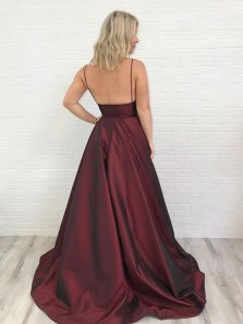 Charming A-Line Spaghetti Straps V Neck Backless Burgundy Satin Long Prom Dresses with Pockets DG0919004