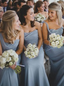 Charming One Shoulder Sheath Blue Chiffon Long Bridesmaid Dresses with Side Split
