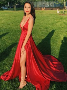 Sexy Deep V Neck Open Back Red Satin Long Prom Dresses with Side Split,Charming Evening Party Dresses