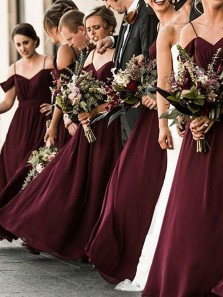 Elegant A-Line Off the Shoulder Open Back Burgundy Chiffon Long Bridesmaid Dresses with Straps