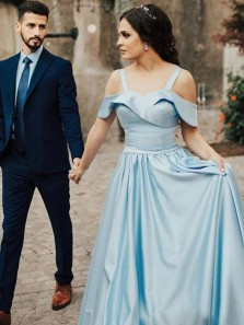 Elegant A-Line Off the Shoulder Open Back Blue Satin Long Prom Dresses with Pockets,Evening Party Dresses