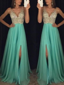 Charming A-Line Deep V Neck Backless Split Mint Chiffon Long Prom Dresses with Beading,Evening Party Dresses