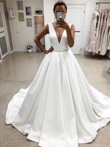 Elegant A-Line Deep V Neck Open Back White Satin Wedding Dresses with Crystal Belt