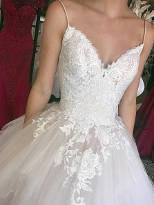 Gorgeous Ball Gown V Neck Open Back Ivory Tulle Wedding Dresses with Appliques,Bridal Gown