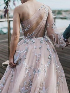 Fairy Ball Gown One Shoulder Long Sleeve Open Back Blush Pink Tulle Appliques Wedding Dresses