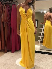 Chic Sheath V Neck Spaghetti Straps Backless Yellow Chiffon Long Prom Dresses with High Split,Evening Party Dresses