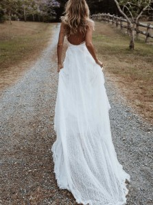 Boho A-Line V Neck Backless White Lace Beach Wedding Dresses