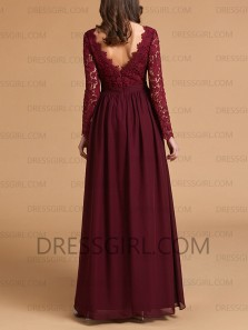 Elegant A-Line V Neck Long Sleeves Burgundy Chiffon Long Bridesmaid Dresses,Lace Prom Dresses