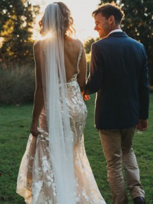 Charming Sheath Deep V Neck Backless Ivory Wedding Dresses with Lace,Unique Country Wedding Gown DG0925004