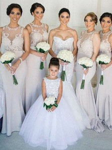 Elegant Mermaid Round Neck Light Grey Elastic Satin Long Bridesmaid Dresses with Lace