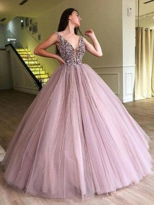 Luxurious V Neck Open Back Purple Tulle Long Prom Dresses with Beading,Charming Quinceanera Dresses