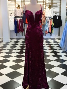Unique Sheath Spaghetti Straps Cross Back Burgundy Velvet Long Prom Dresses,Charming Evening Party Dresses