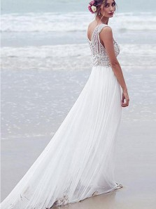 Modest A-Line V Neck Open Back White Chiffon Wedding Dresses with Beading,2019 Beach Wedding Dresses