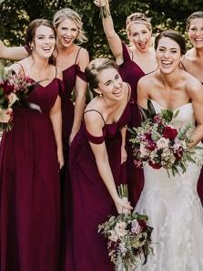 Elegant A-Line Off the Shoulder Open Back Burgundy Chiffon Long Bridesmaid Dresses with Straps