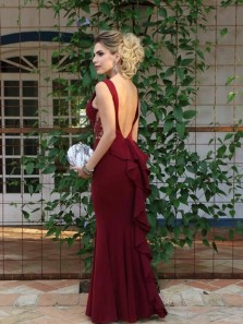 Stylish Mermaid V Neck Backless Burgundy Satin Long Prom Dresses with Ruffles,Evening Party Dresses