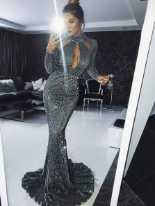 Sexy Mermaid Long Sleeve Grey Sequins Long Prom Dresses,Evening Party Dresses