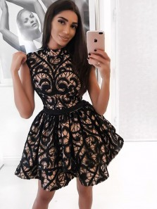Unique A-Line High Neck Open Back Black Lace Short Homecoming Dresses,Short Cocktail Party Dresses DG0916004