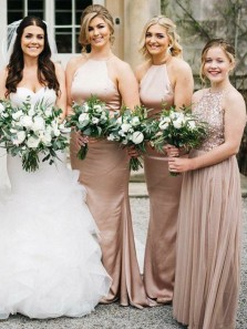 Elegant Sheath Halter Backless Blush Satin Long Bridesmaid Dresses