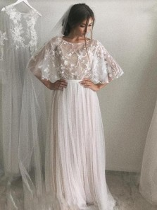 Bohe A-Line Boat Neck Open Back Half Sleeve Ivory Tulle Beach Wedding Dresses