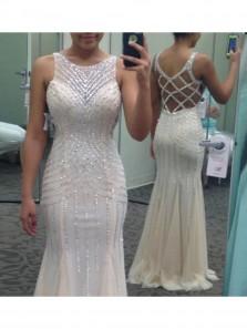 Youthful Ivory Prom Dress Jewel Sleeveless Mermaid Floor Length with Beading