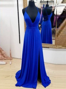 Classy A-Line V Neck Spaghetti Straps Cross Back Royal Blue Chiffon Long Prom Dresses,Evening Party Dresses