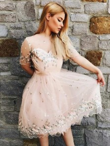 A-Line Bateau Knee Length Pink Tulle Junior Homecoming Dress with Appliques