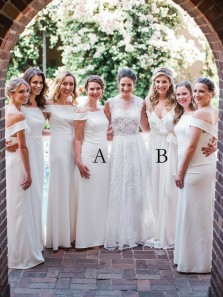 Elegant Sheath Off the Shoulder White Long Bridesmaid Dresses