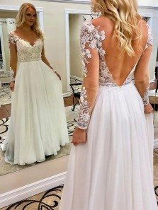Exquisite A-Line Round Neck Open Back Long Sleeves Chiffon Wedding Dresses with Appliques
