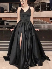 Elegant A-Line V Neck Open Back Black Satin Long Prom Dresses with High Slit,Evening Party Dresses