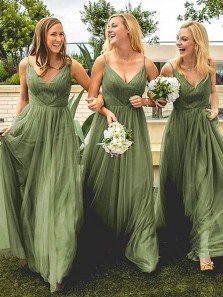 Charming A-Line V Neck Sage Green Tulle Long Bridesmaid Dresses