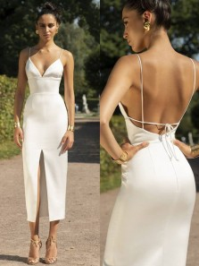 Charming Sheath V Neck Spaghetti Straps Backless White Satin Slit Prom Dresses,Evening Party Dresses