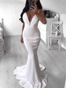 Sexy Mermaid Deep V Neck Open Back White Satin Long Prom Dresses with Train,Evening Party Dresses