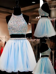 Sweet 16 Gowns Light Sky Blue Tulle Short Homecoming Dresses Dress 2 Pieces With Beading HC0036