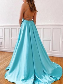 New arrival A-Line V Neck Criss Cross Back Lake Blue Satin Long Prom Dresses with Slit,Formal Evening Party Dresses
