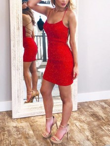 Bodycon Scoop Neck Cross Back Red Sequins Short Party Dresses,Cocktail Party Dresses 190719004