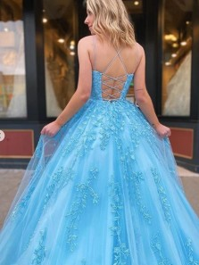 Beautiful A-Line Scoop Neck Cross Back Blue Tulle Long Prom Dresses with Appliques,Cheap Evening Party Dresses