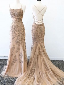 Mermaid Scoop Neck Cross Back Champagne Long Prom Dresses with Appliques,Evening Party Dresses,Formal Dresses