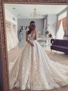 Ball Gown V Neck Open Back Ivory Wedding Dresses with Appliques,Lace Wedding Gown