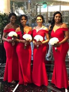 Mermaid Off the Shoulder Open Back Red Satin Long Bridesmaid Dresses with Straps,Wedding Party Dresses